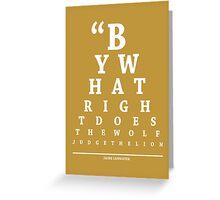 Jaime Lannister, Eye Chart Greeting Card