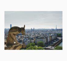 Gargoyle eyeing the Eiffel tower  Kids Clothes