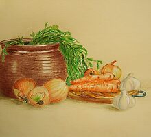 Still life with carrots and onions by Solotry
