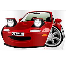 Mazda Miata caricature red Poster