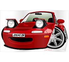 Mazda MX-5 caricature red Poster