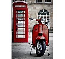 Italian Red Lambretta GP Scooter Photographic Print