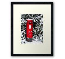 Pillar Box in the Snow Framed Print