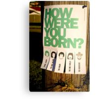 How Were You Born? Street Art Poster - Lady Gaga - Bruce Springsteen - Steppenwolf - Hank Williams Jnr Metal Print