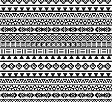 Aztec Influence Pattern Black on White by NataliePaskell