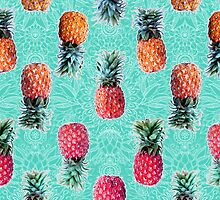 From Pineapple to Pink - tropical doodle pattern on mint by micklyn