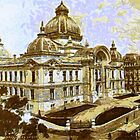 A digital painting of The Romania National Bank, Bucharest 1908 by Dennis Melling