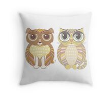 Friendly Dog and Big-Eyed Cat Throw Pillow