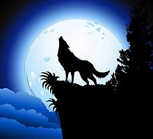 Wolf Howling at Blue Moon by BluedarkArt
