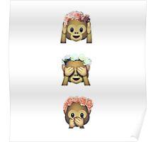 Floral monkeys Poster