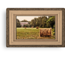 Bales along the Tree Line ... matted and framed Canvas Print