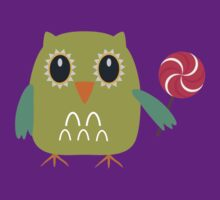Coloured owl with a lollipop by ilovecotton