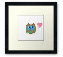 Cute owl with heartballoon Framed Print