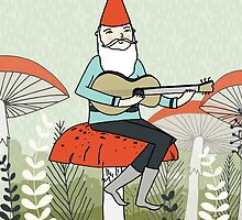 Gnome Plays Guitar by Paper Sparrow by Paper Sparrow