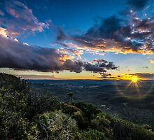 Sunset over Megalong Valley by VinImagery