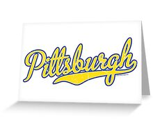 Pittsburgh Script Blue  Greeting Card