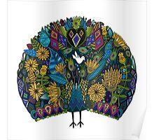 peacock garden white Poster