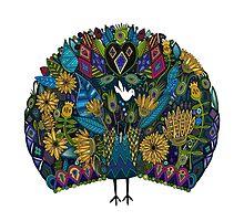 peacock garden white Photographic Print