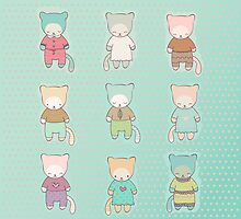 Set of cute cartoon cats dressed by jentesmiler