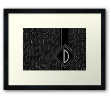 1920s Jazz Deco Swing Monogram black & silver letter D Framed Print