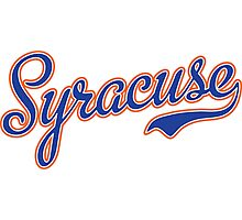 Syracuse Script Blue  Photographic Print