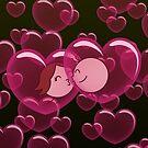 Heart Bubbles - two lof bees by Josh Bush