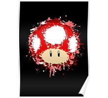 Splash Paint Super Mario Mushroom Poster