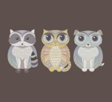 Raccoon, Cat, Dog Blue Kids Clothes