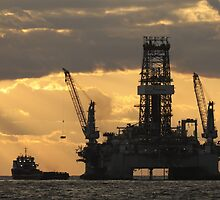 Offshore Rig at Dawn by Bradford Martin