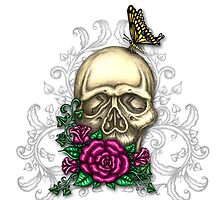 Skull, Roses and Butterflies by TASIllustration