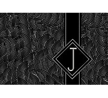 1920s Jazz Deco Swing Monogram black & silver letter J Photographic Print