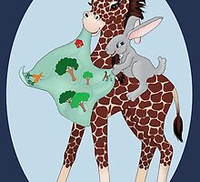 Giraffe Friends Go Place by redqueenself