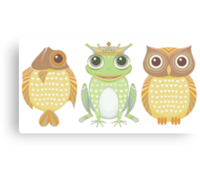Fish Frog Owl Canvas Print