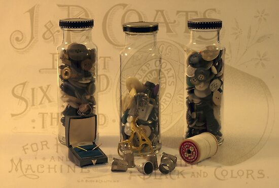 Three Button Jars by Sandra Foster