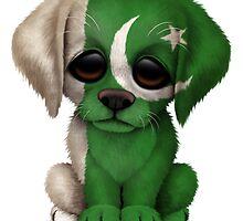 Cute Patriotic Pakistani Flag Puppy Dog by Jeff Bartels