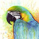 Macaw Colorful Bird Portrait Watercolor Painting by OlechkaDesign