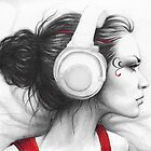 Beautiful Girl in Headphones Portrait by OlechkaDesign