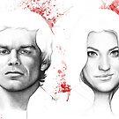 Debra and Dexter Morgan Portrait, Art by OlechkaDesign