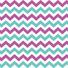 Pink and Turquoise Chevron Pattern by StudioBlack