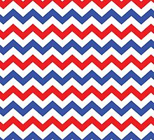 Red, White, and Blue Chevron Pattern by StudioBlack