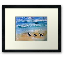 Three Little Penguins Out for a Stroll by Heather Holland Framed Print