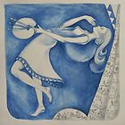 The (Woman) Painter: to the moon (after Chagall) by Thea T