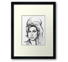 Amy Winehouse Portrait Drawing Art Framed Print