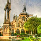 Notre Dame ..Garden Fountain view .. HDR by Michael Matthews