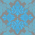 Turquoise Tangle - sky blue, aqua & grey pattern by micklyn