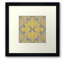 Golden Folk - doodle pattern in yellow & grey Framed Print
