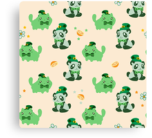 Lucky Citrus Panda and Kitty Pattern Canvas Print