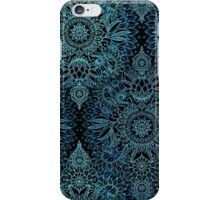 Black, Teal & Aqua Protea Doodle Pattern iPhone Case/Skin