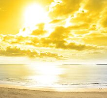 panorama of a Beautiful yellow sun over the Ballybunion beach by morrbyte