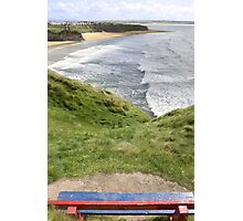 view of beach and cliffs in Ballybunion from bench Photographic Print